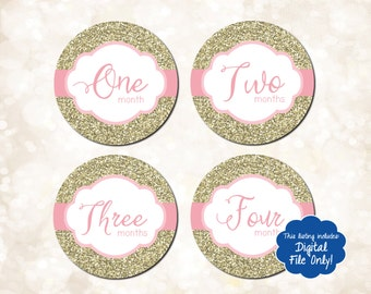 Printable Pink & Gold Glitter Monthly Stickers, Baby Girl Bodysuit Stickers, Milestone Stickers, Just Born, 1-12 Months