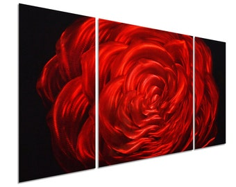 Modern Abstract Painting Metal Wall Art Sculpture Red Rose
