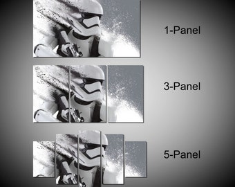 Framed Star Wars Stormtrooper The Force Awakens Wall Canvas Art - Ready to Hang