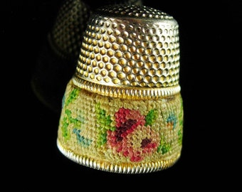 OLD Petit point Thimble Tiny needlepoint hand sewn embroidery vintage novelty gift Figural gift