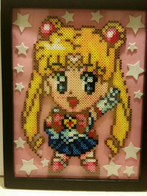 Sailor Moon Anime Perler Bead Art Framed 10x13 Made To Order