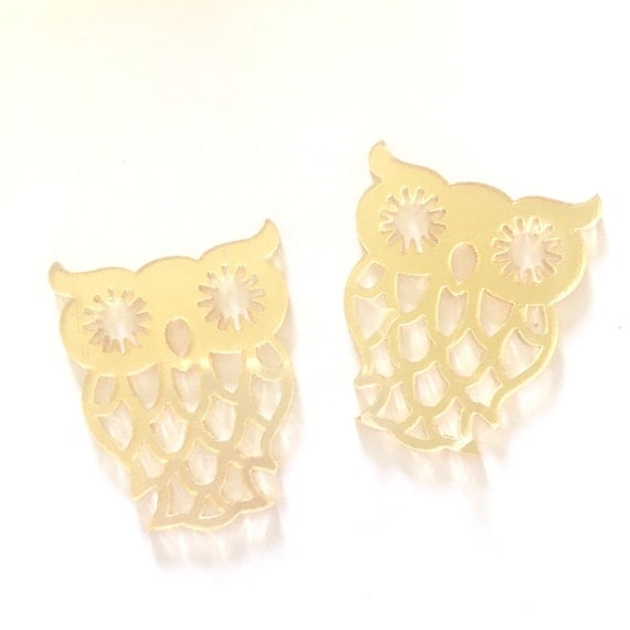 Laser Cut Supplies- 2 Pieces. 36mm Gold Mirror Owl Charms - Laser Cut Acrylic - Jewelry Supplies-Little Laser Lab.Online Laser Cutting