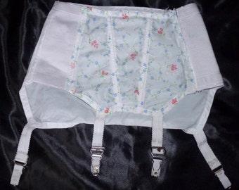 Gorgeous vintage 50's deep garter belt boned waist cincher