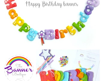 Sew your own Happy Birthday banner.  Pattern.  Kit.