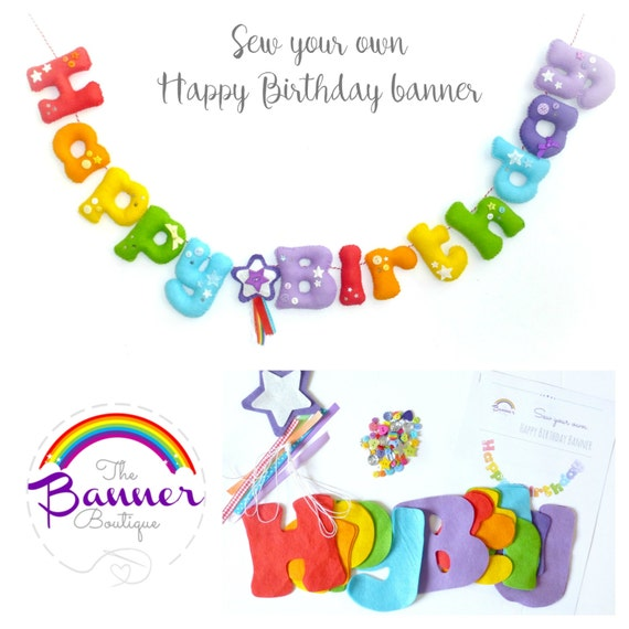 Sew Your Own Happy Birthday Banner. Pattern. Kit