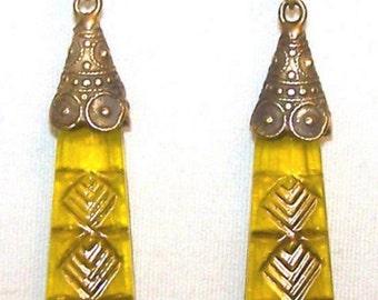 Vintage Art Nouveau Gablonz Czech Golden Yellow Glass Peak Drop Earrings