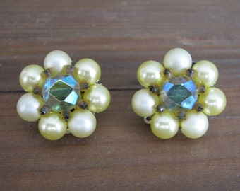 Vintage Yellow and Blue Pearl Flower Clip On Earrings