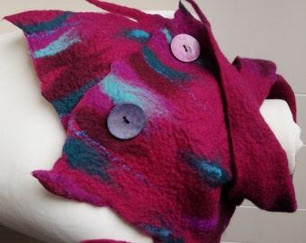 Felted scarf, wool felted scarf, felt scarf, merino wool scarf, winter scarf, scarves, Handmade