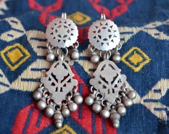 Tribal Indian earrings old long dangle with bells vintage ethnic boho gypsy star discs.