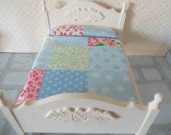 Dolls house 1/12 scale double bed dollhouse bed miniature bedroom cream painted bed 1 12th scale