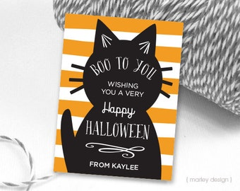 Cat Halloween Tags Printable Personalized Customized Halloween Labels Halloween Favor Tags Cat Favor Tags Halloween Birthday Tags Thank You