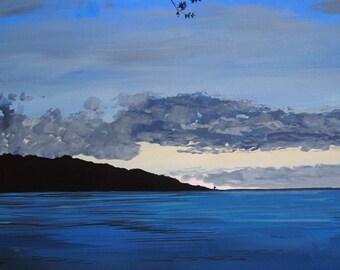 Evening Seascape - 12 x 8 Original Acrylic Painting