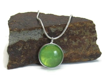 Lime green necklace glass cabochon shiny silver necklace