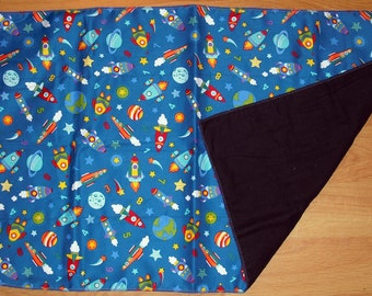 Baby Blanket - Rocket Ships and Numbers