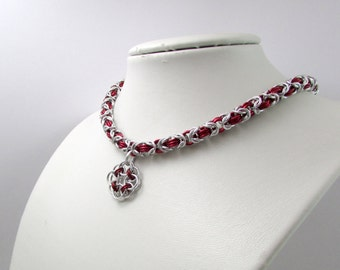Red and Silver Necklace with Rose Pendant– Byzantine Chainmaille - Nickel Free Chain Necklace - Handmade Chainmail
