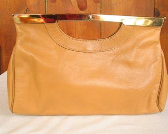 Tan Leather LETISSE Clutch Handbag Unique hinge frame Mod Retro Pocketbook in excellent vintage condition.