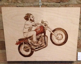 RIde Or Die Pyrography and Pencil Crayon on Birch Wood Panel