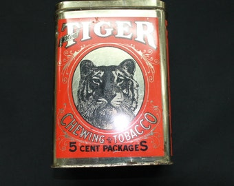 vintage general store Tiger Fine Cut Chewing tobacco 5 cent tin