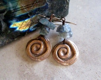 """Winding Path - Copper """"Relic"""" Spiral Earrings with Smoky, Chunky Labradorite, Handmade Artisan, Ancient Symbolism, OOAK, Boho, Tribal"""
