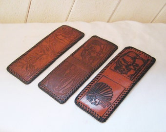 Mens tooled leather bi fold wallet, 60s 70s leather wallet, western wallet