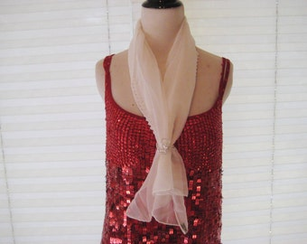 Sheer white polyester scarf, long thin neck scarf, vintage white scarf, made in Japan, gift for her, 1114