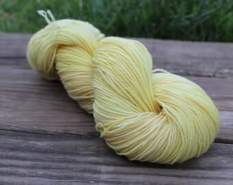 "Naturally Dyed Sock Yarn, ""Buttery"" DYED TO ORDER - superwash wool and nylon 100g 357 yards"