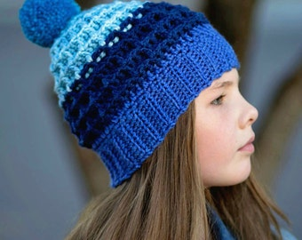 Crochet Pattern for Beanie Hat Waffle Slouchy, Child and Adult PDF 16-255