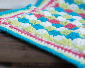 Softest Baby Blanket Turquoise, Lime, White Coral