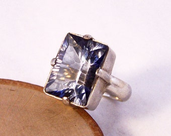 Vintage Sterling Silver Blue Ring, Rectangular Blue Ring, Purple Blue Ring, M, 6.5