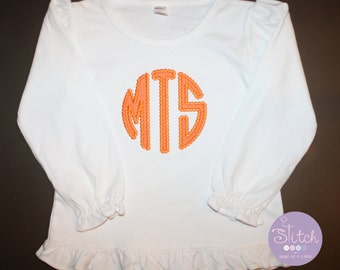 Orange Dotted Circle Monogram Applique on White LS Ruffle Tee