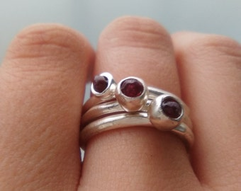 Silver Stacking Raw Garnets Rings (3rings)