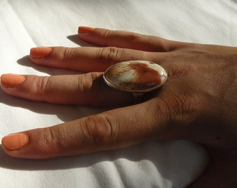 Sterling silver handcrafted ring size 9 petrified wood