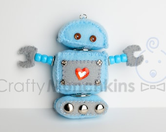 Cute Sky Blue Plush Felt Robot