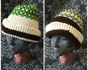 Retro Reversible Beanie. Bright Funky Retro 1970s Warm Thick Knit Winter Hat. Bright Geometric Double Sided Warm Beanie Winter Hat