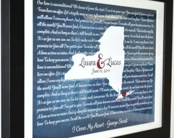 Song lyric art, new york map, personalized anniversary present, wedding vows, gift for husband and wife, any state, custom wedding gift