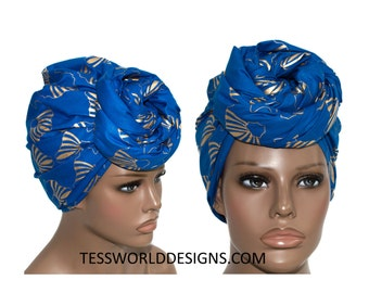 Blue and gold head wraps/ Fabric from Africa/Reversible Cotton African Head wraps/ Scarves/ African hair accessory/ Head scarf/ HT854