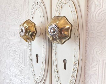 Cabinet Knobs Backplates Shabby Chic Door Pull White Gold Handles Distressed Furniture Hardware Metal Glass Cupboard ITEM DETAILS BELOW