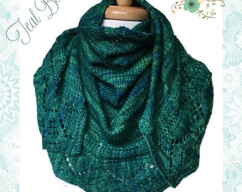 Teal Ladies Lace Shawl Handknit Malabrigo Rios Yarn Solis Small Medium Crescent