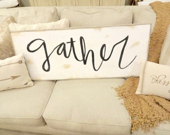 Large gather black and white rustic wood sign