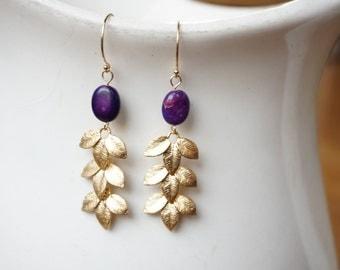 Purple Jasper and Gold Leaf Earrings, Purple and Gold Earrings