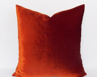 Velvet Solid Brick Red Pillow Covers, Decorative Velvet Pillows, Brick Red Throw Pillows,12,14,16,18,20,22,24,26,28,30 inch