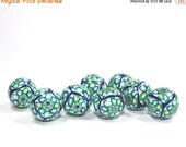 SALE 20% Off - Polymer Clay round beads, elegant beads in a variety of greens, blue and white, unique pattern, Set of 8 Millefiori beads
