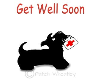 Scottie Dog 'Get Well Soon'  Square Greeting card  Scottish Terrier