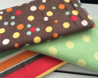 Burp Cloth Trio, Primary Set, Yellow, Red, Green, Blue and Brown, Dot and Stripes, Baby Burp Clothes, Burp Cloth Set, Shower Gift, New Baby