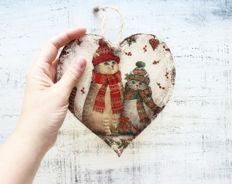 1 heart ornament Christmas ornament Christmas decoration rustic cottage chic shabby chic Santa cats retro vintage