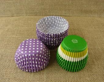 Clearance Cupcake Liners -Discount Sale - Purple Polka Dot and Green Swirl - 200 Plus! - European Quality
