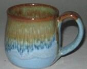 Pottery Mug, Small 6-8 oz, Sand 'n' Sea, Microwave and Dishwasher-safe, Wheel-Thrown