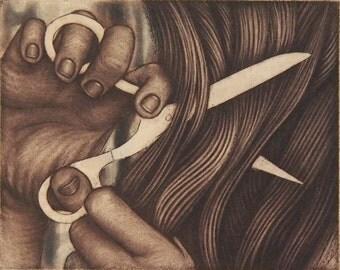 Severance - tiny unframed etching/mezzotint original intaglio print by Carrie Lingscheit