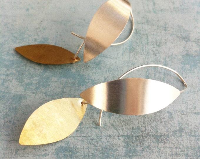 Sterling silver hoop earrings -Silver and brass hook earrings -contemporary jewellery-leaf shape dangle & drop earrings-boho silver earrings