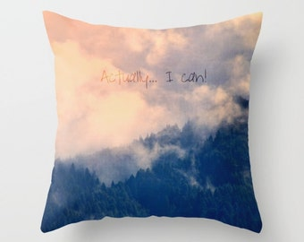 Throw Pillow Case, Home Decor, Foggy Mountain Landscape, I Can!, Photography by RDelean